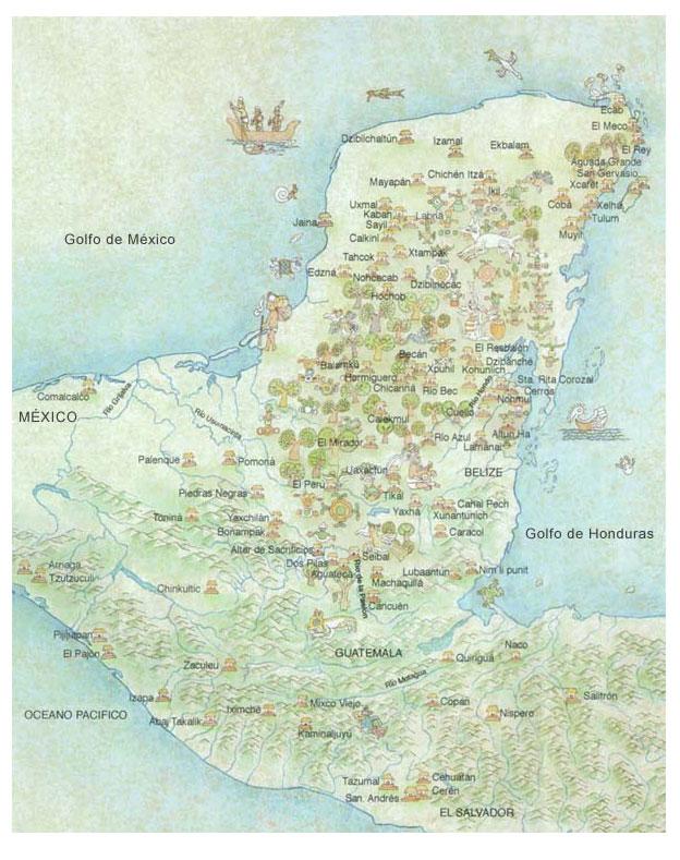 Maya World Map.Fastmaps Of El Salvador Costa Rica Guatemala Nicaragua Honduras